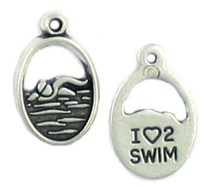 Wholesale I Love To Swim Swimmer Charms