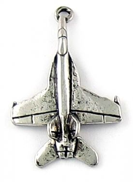Fighter Plane Charm (±19x29x5mm; -1mm-;3D)