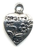 Wholesale Forget Me Not Heart With Flowers Charm