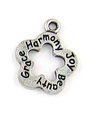 Beauty, Grace, Harmony, Joy Flower Charm (±17x21x1.5mm; - 1D)