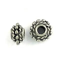 Spacer Bead With Rope Edges and Beaded Center (±4.5x7x7mm; Hole -2.5mm-;3D)