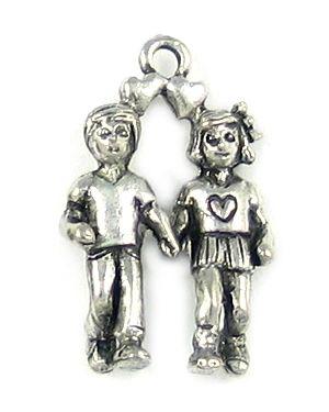 Boy and Girl Charm (±16x25x6mm; -2mm-;3D)