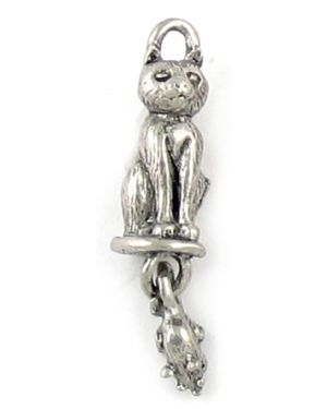 Cat With Moveable Mouse Charms (±7x30x6mm; -2mm-;3D)