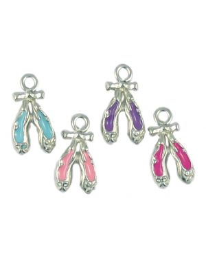 Wholesale Ballet Shoe Charms in Assorted Colors Enamel.