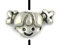 Girl Head Bead (±13x8x5mm; -1mm-;2D)