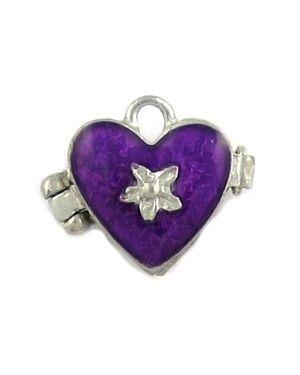 Heart Locket With Purple Epoxy Enamel (±18x15x9mm; -2mm-;3D)