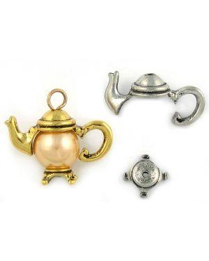Wholesale 2 - Part Teapot Bead Cap Charms