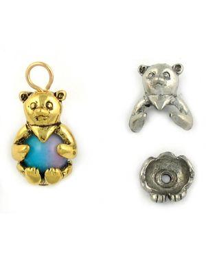 Wholesale 2-Part Bear Charm Bead Caps.