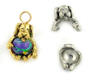 Wholesale Two Part Bead Caps Dog Charm