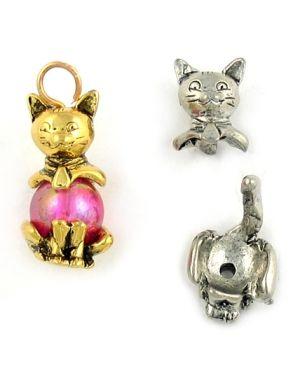 Wholesale 2 Part Cat Bead Cap Charms.