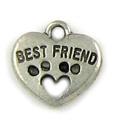 Wholesale Best Friend Heart and Paw Pendant Charms.