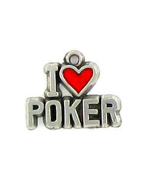 I Love Poker With Red Epoxy Enamel Heart (±16x14x2mm; -1mm-;1D)