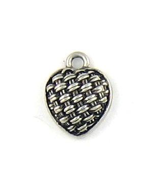 Wholesale Basket Weave Heart Charms.