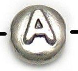 Wholesale Letter A Alphabet Disc Beads.
