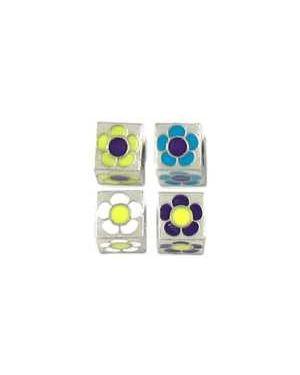 Enameled Flower Cube Beads