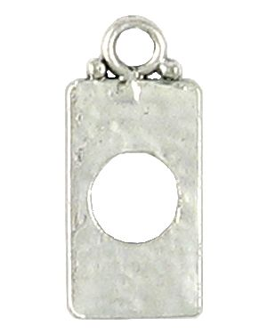 Rectangle Hammered Pendant (±12x28.5x1mm; - 2D)
