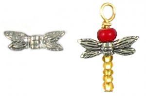 Mini Dragonfly Wings Bead (13x4x3mm; -1-; 3D)