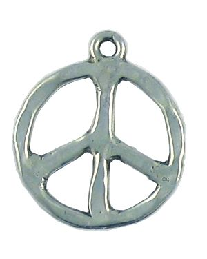 Hammered Peace Sign Pendant (±21x24x1.5mm; -2.5mm-;2D)