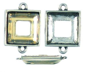 14mm Square - 2 Center Loops (±23x16x4mm; -1mm-;3D)