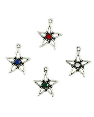Star Flower With Stone Mix (±17.5x21.5x3.5mm; -2mm-;1D)