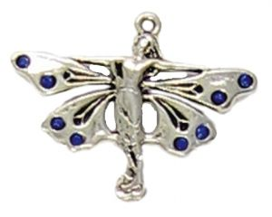 Wholesale Fairy Pendant With Blue Crystals on Wings