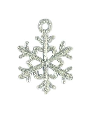 Wholesale Snowflake Charm With White Enamel and Glitter