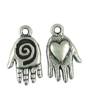 Wholesale Hand With Spiral And Heart Charms.