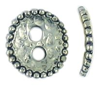 Hammered Button Disc With Two Holes and Beaded Edge (±2x11x12mm; -2.5mm-;3D)