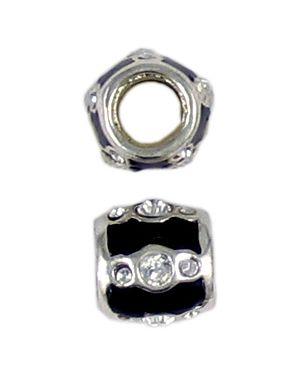 Black Epoxy Enamel Bead With Stones/Bag 10 (±10x10x10mm; -5.4mm-;3D)