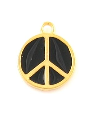 Large Peace Sign With Black Epoxy Enamel (±17.5x22x2mm; -2mm-;1D)