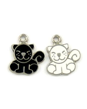 Wholesale Black and White Enameled Cat Charms.