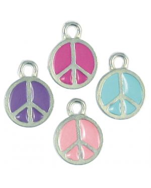 Assorted Colors Epoxy Enamel Small Peace sign (±12x16x1.5mm; -2mm-;1D)