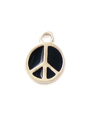 Small Peace Sign With Black Epoxy Enamel(±12x16x1.5mm; -2mm-;1D)