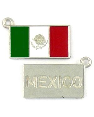 Epoxy Enamel Mexican Flag Charm (±2x23x14mm; -1.5mm-;2D)