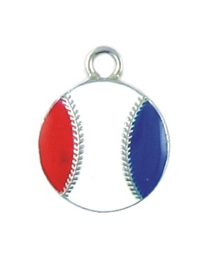 Red White and Blue Enameled USA Baseball Charms