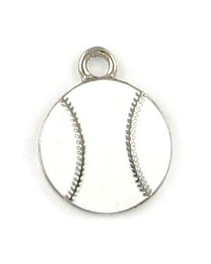 Wholesale White Enameled Baseball Charms