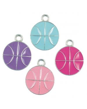 Wholesale Enameled Basketball Pendants in Assorted Colors