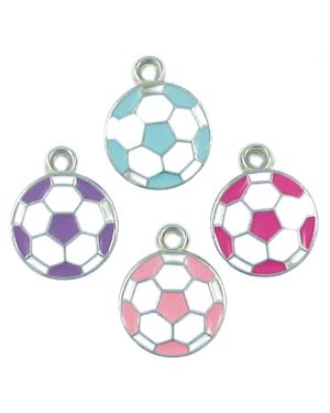 Wholesale Enameled Soccer Ball Charms in Assorted Colors