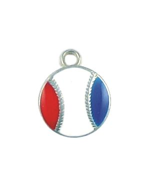 Wholesale Small Red White and Blue Enameled USA Baseball Charms