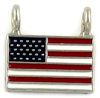 Epoxy Enamel USA Flag Charm With Two Rings (±15x15x2mm; Ring Hole -2mm-;1D)