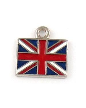 Epoxy Enamel British Flag Charms (±16x16x2mm; -2mm-;1D)