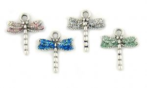 Wholesale Dragonfly Charms with Colored Enameled Wings.