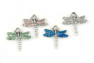 Wholesale Dragonfly Pendants With Colored Enameled Wings.