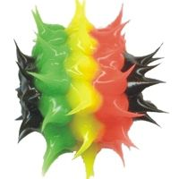 Wholesale rasta colors spiky rubber beads