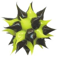Wholesale spiky Lime Green and Black rubber beads