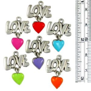 Love and colored hearts charms