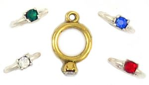 Rings With Assorted Color Crystals (±15x20x2mm; -1mm-;3D)