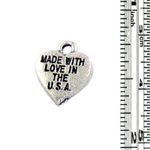 Wholesale Made With Love In The USA Heart Charms.
