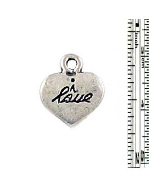 Wholesale I Love engraved on Heart Charms.