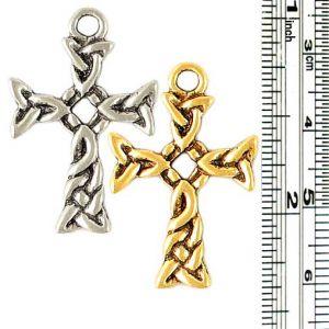 Celtic Knot Cross Pendant (±19mm L x 29mm W x 1.5mm D;  Hole -3mm-;  1D)